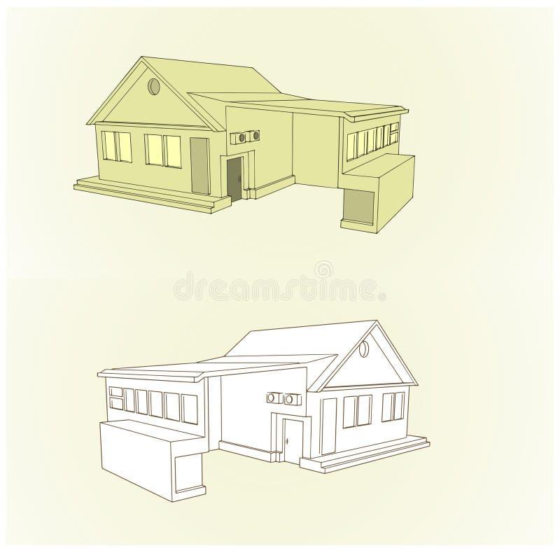 Villetta con stile del garage 3D immagini stock libere da diritti