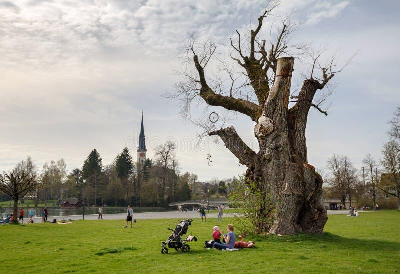 Villette公园在可汗, Zug,瑞士小行政区镇  库存图片