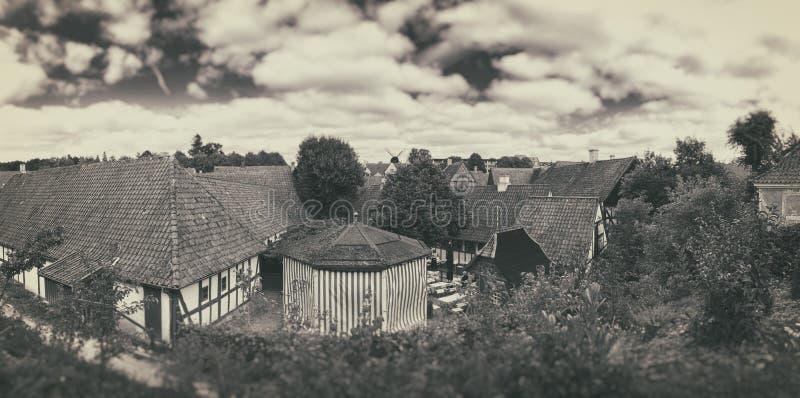 Villiage velho, Den Gamle By, Dinamarca fotos de stock