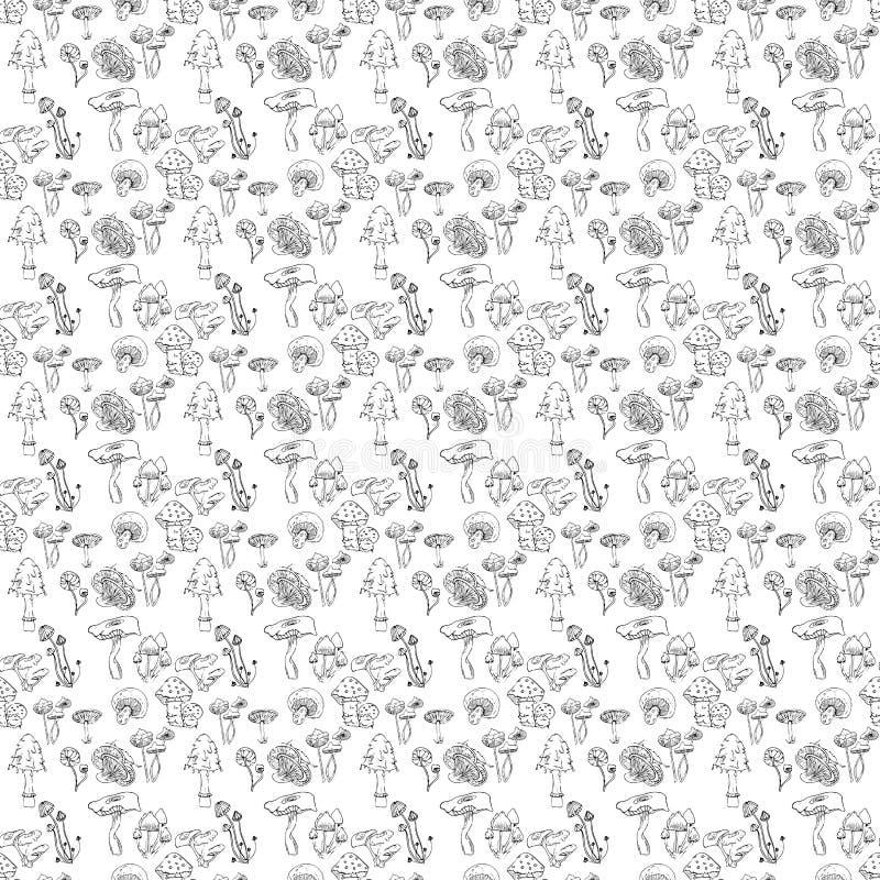 Villkorligt ätliga champinjoner dras av handen Tryck för t-skjorta eller din design stock illustrationer