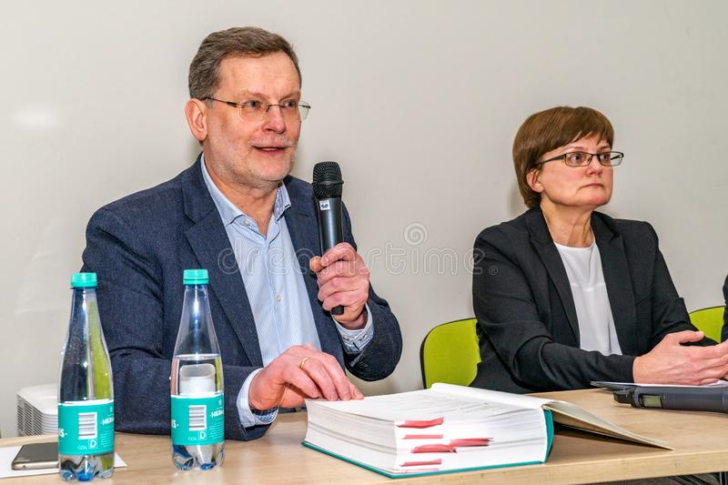 VILNIUS, ΛΙΘΟΥΑΝΙΑ - 21 ΦΕΒΡΟΥΑΡΊΟΥ 2019: Η διεθνής έκθεση βιβλίων Vilnius στοκ εικόνα με δικαίωμα ελεύθερης χρήσης