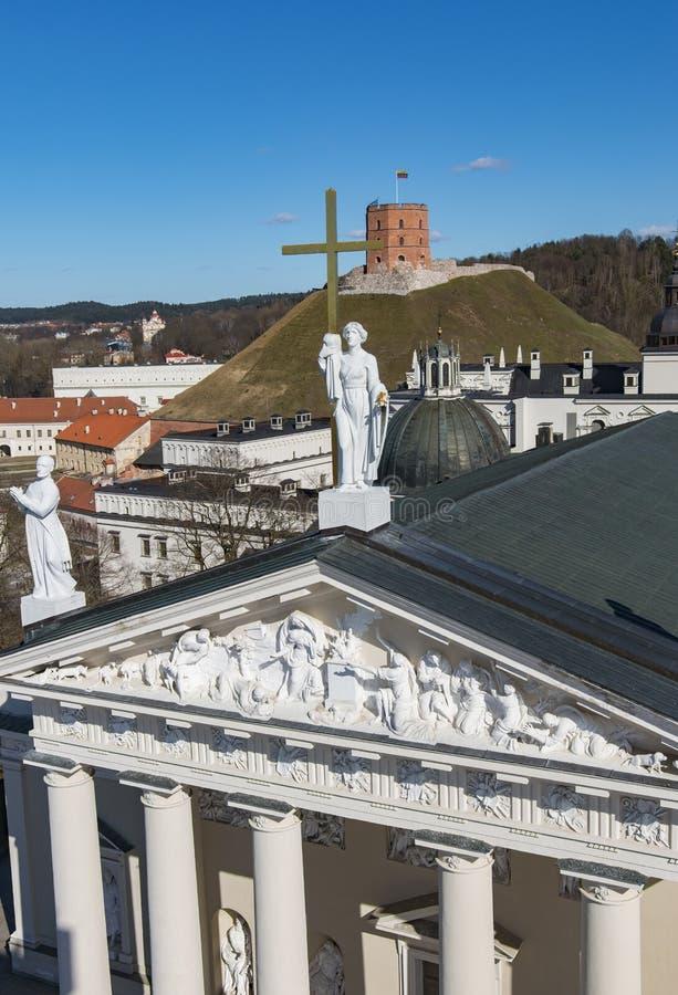 vilnius της Λιθουανίας Εναέρια άποψη σε Vilnius Πανόραμα Vilnius: Κάστρο Gediminas, πόλη LD και άλλα αντικείμενα στοκ εικόνες