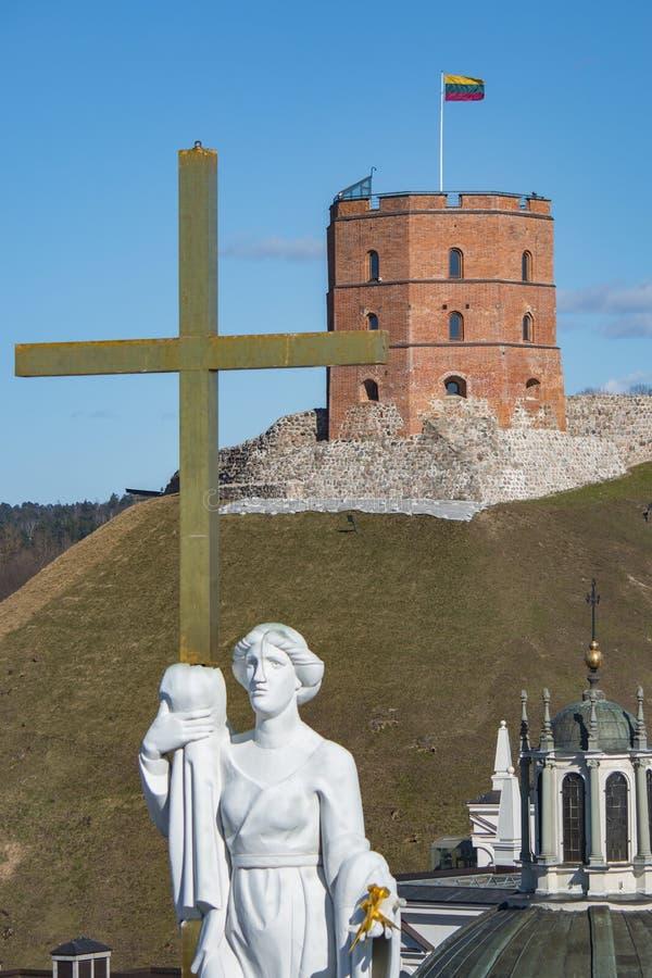 vilnius της Λιθουανίας Εναέρια άποψη σε Vilnius Πανόραμα Vilnius: Κάστρο Gediminas στοκ φωτογραφίες