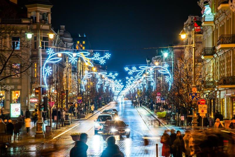 Vilnius τη νύχτα πριν από τα Χριστούγεννα στοκ φωτογραφίες