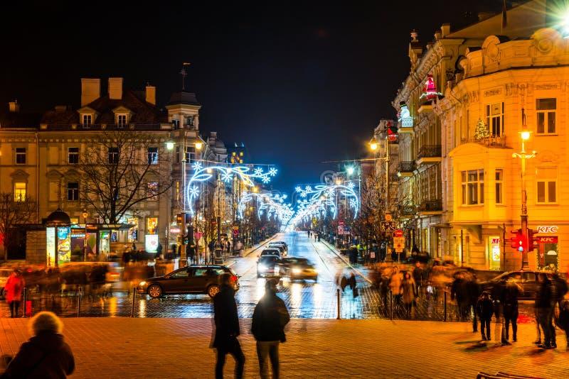 Vilnius τη νύχτα πριν από τα Χριστούγεννα στοκ εικόνα με δικαίωμα ελεύθερης χρήσης