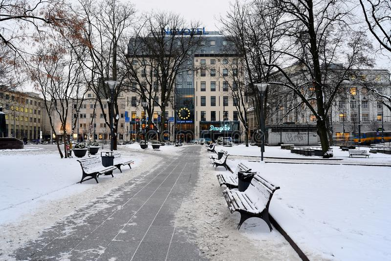 Vilnius χρονικό πανόραμα χειμερινού πρωινού πόλεων άσπρο στοκ εικόνα