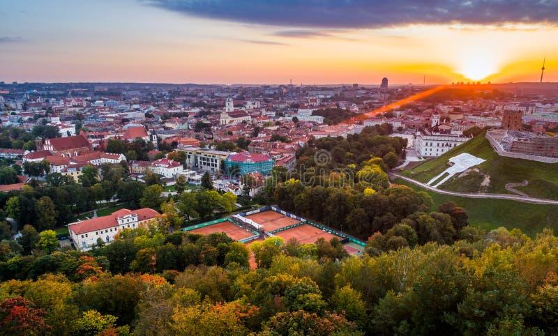 Vilnius aerial photo at sunset royalty free stock photos