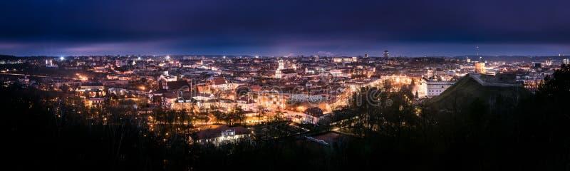 Vilnius bij nacht stock afbeelding