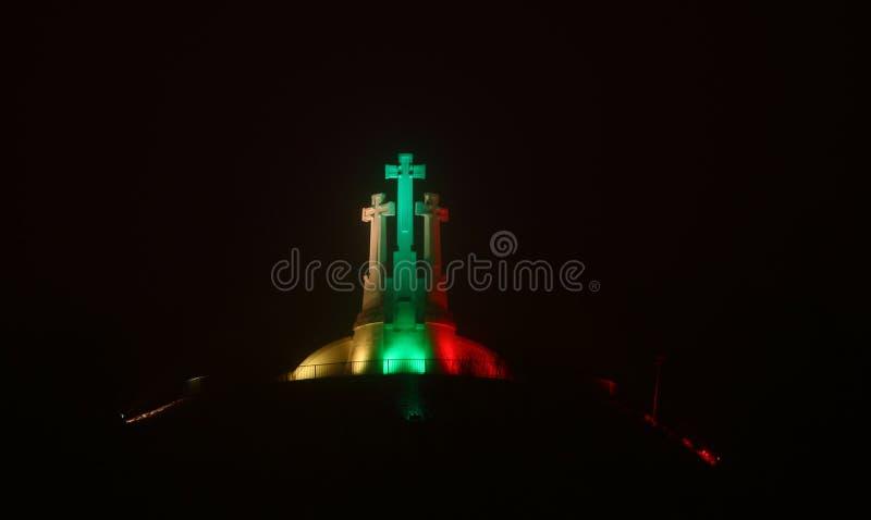 Vilnius - capital de Lituânia na noite fotos de stock royalty free