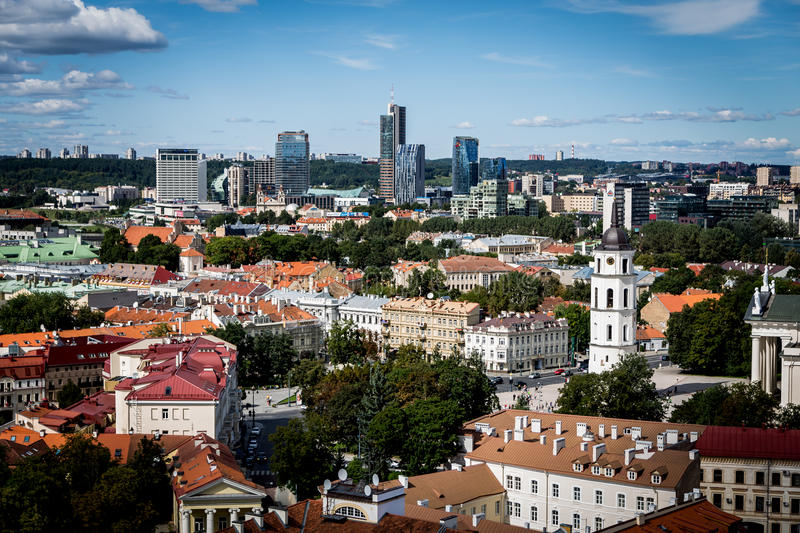 Vilnius. Is the capital of Lithuania, and its largest city, with a population of 539,939.  is located in the southeast part of Lithuania stock photo