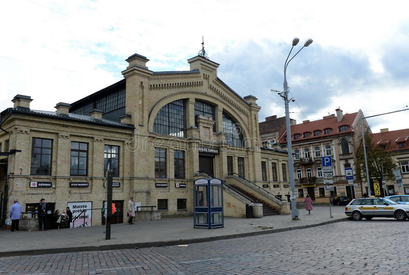 Vilnius - capital of Lithuania. Market Hale is one of the oldest in Vilnius, built in 1906. During the construction used the lat. VILNIUS, LITHUANIA - SEPTEMBER royalty free stock photography
