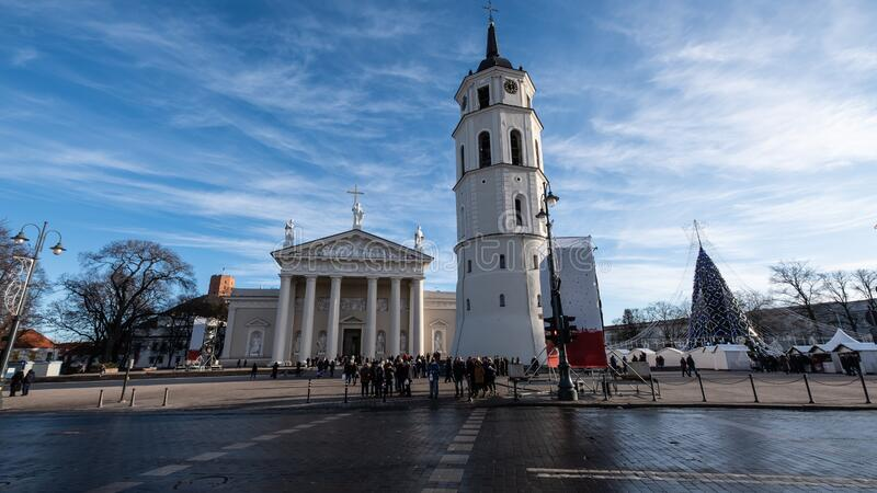 Vilnius Cathedral and the bell tower in Lithuania. Vilnius Cathedral is the main Roman Catholic Cathedral of Lithuania. It is situated in Vilnius` Old Town, just royalty free stock photos