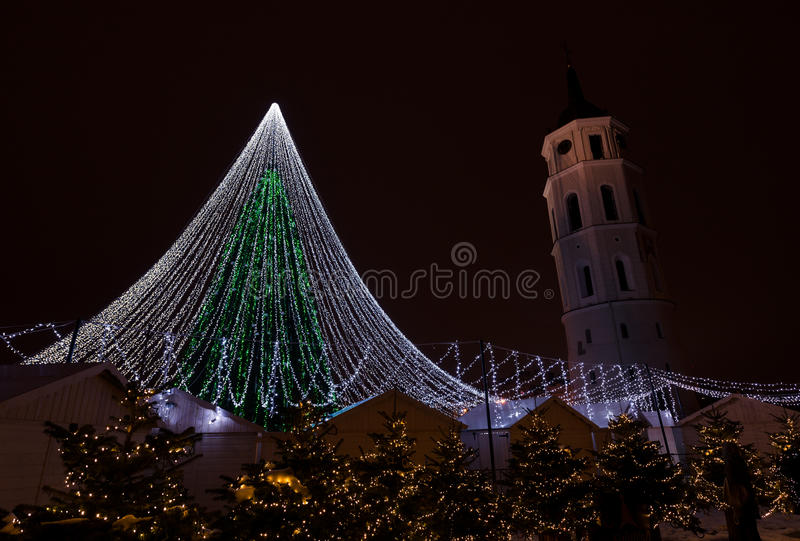 Vilnius Christmas tree. Christmas tree in Cathedral square Vilnius, Lithuania, night scene, 2016 December stock images