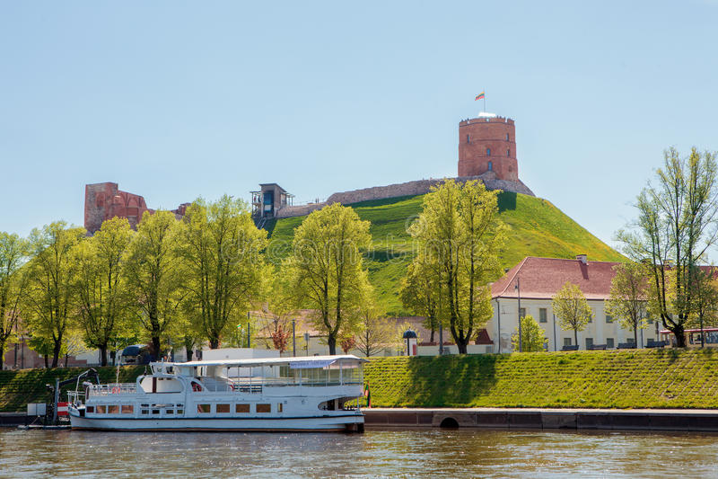 Vilnius city centre near the river Neris with its main landmark royalty free stock photography