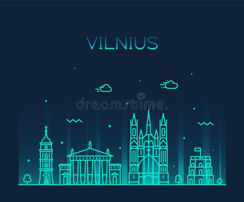 Vilnius linia horyzontu Lithuania wektorowy modny kreskowy styl royalty ilustracja