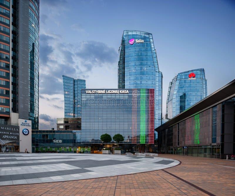 VILNIUS LITAUEN - AUGUSTI 10, 2018: Vilnius som är i stadens centrum med kommun- och affärsbyggnader i bakgrund lithuania royaltyfri fotografi
