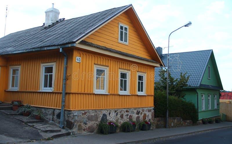 Vilnius, Litauen Häuser Trakai Caraimis lizenzfreie stockbilder