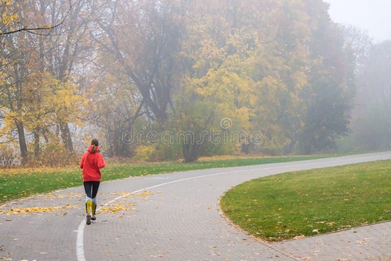 VILNIUS, LITAUEN - 21. OKTOBER 2018: Frau, die morgens durch den nebeligen Stadtpark läuft lizenzfreie stockfotografie
