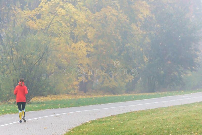VILNIUS, LITAUEN - 21. OKTOBER 2018: Frau, die morgens durch den nebeligen Stadtpark läuft lizenzfreies stockbild
