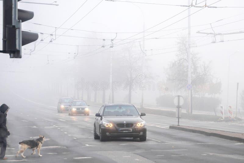 VILNIUS, LITAUEN - 21. OKTOBER 2018: Verfolgen Sie den Wanderer, der die nebelige Stadtstraße während des Morgenstraßenverkehrs f lizenzfreie stockfotografie