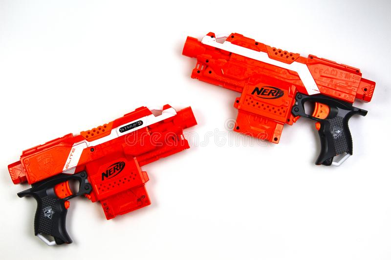 Vilnius, Lithuaania - March 5, 2019: Nerf N-Strike Elite Stryfe Blaster on white background. Vilnius, Lithuaania - March 5, 2019 Nerf N-Strike Elite Stryfe stock photo
