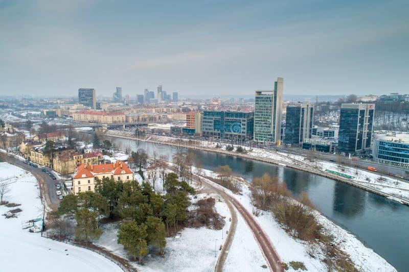 Vilnius, Lithuania. Aerial photo near river. Vilnius, Lithuania. Aerial photo in winter. Park river stock photos