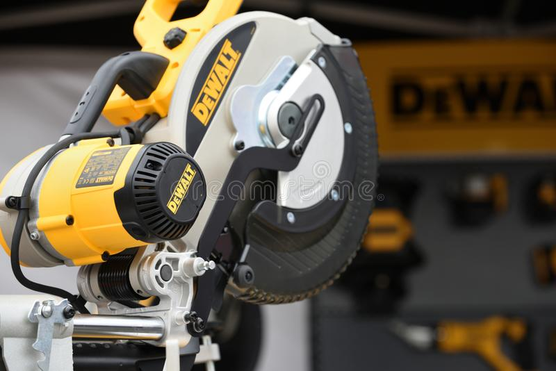 DeWalt power tool. Vilnius, Lithuania - April 25: DeWalt power tool on April 25, 2018 in Vilnius Lithuania. DeWalt is an American worldwide brand of power tools royalty free stock photo