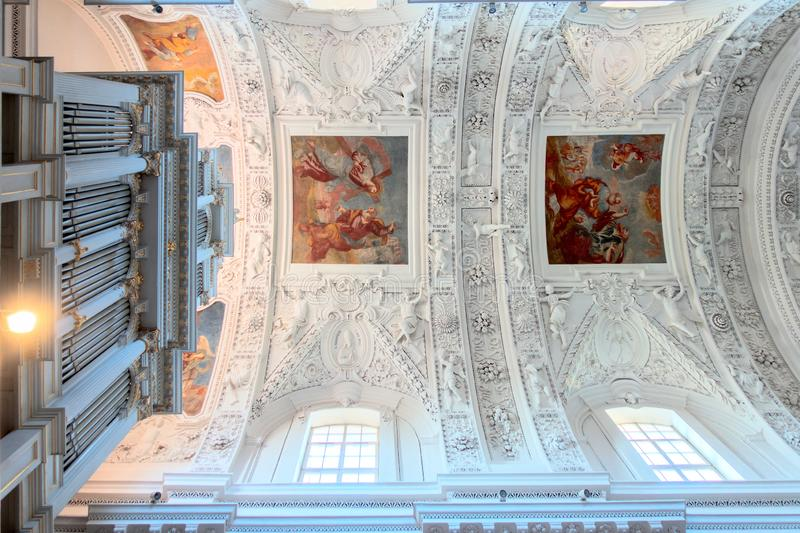 Vilnius, Lithuania - April 12, 2019: Interior of Sts. Peter and Paul Church in Vilnius, Lithuania. Vilnius, Lithuania - April 12, 2019: Interior of Sts. Peter royalty free stock image