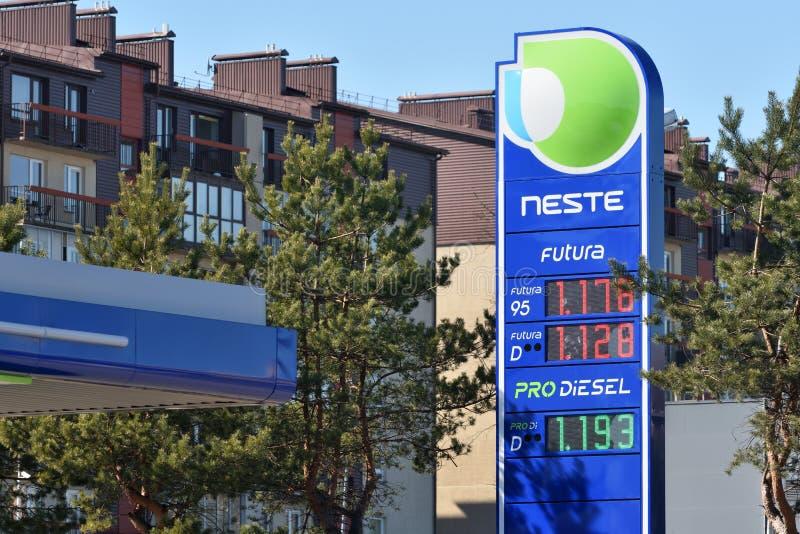 Neste Oil logotype on a Neste fuel station. Vilnius, Lithuania - April 02: Neste Oil logotype on a Neste fuel station in Vilnius on April 02, 2019. Neste Oyj is royalty free stock images