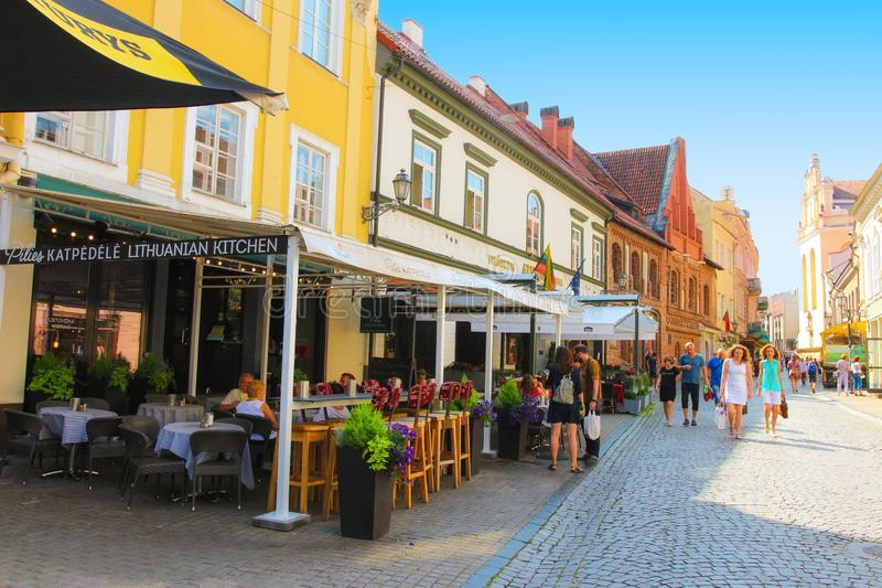 Downtown Vilnius with tourists on summer day, Lithuania royalty free stock image