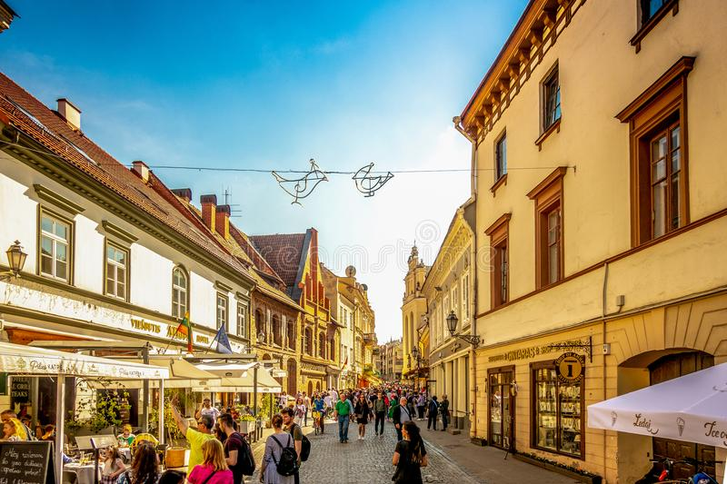 Vilnius, Lithuania - May 1, 2018: Pilies street is the main tourist street in Vilnius, Lithuania royalty free stock images