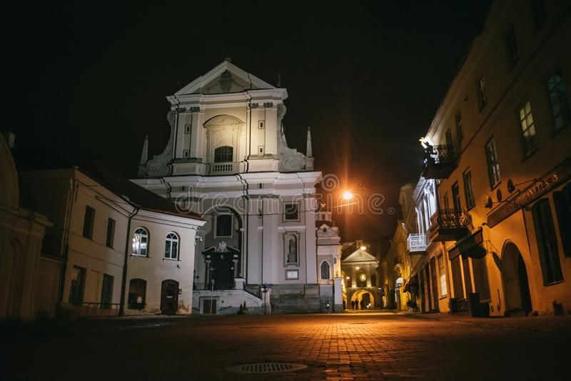Vilnius, Lithuania: the Gate of Dawn st. Teresa church, one of its most important historical, cultural and religious monuments at. Night royalty free stock photography