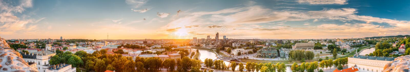 Vilnius, Lithuania. Sunset Sunrise Dawn Over Cityscape In Evening stock photos