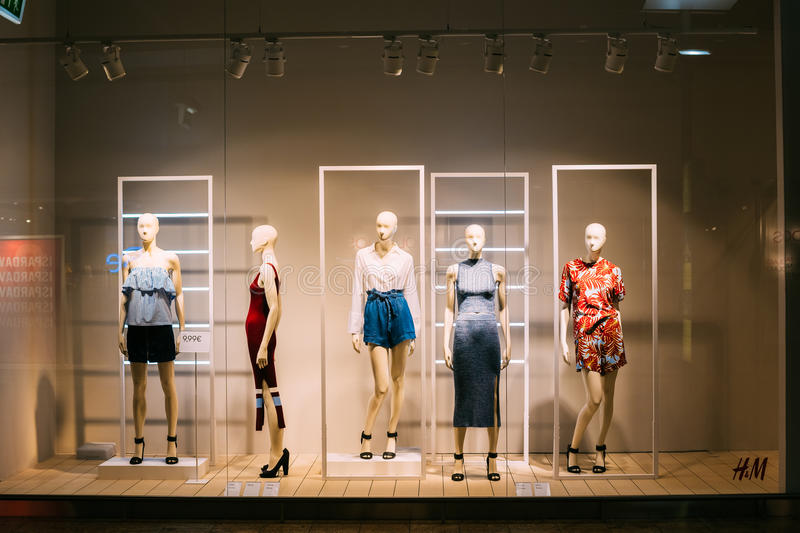 Vilnius Lithuania. Mannequins In Store Window Of Women's Casual Clothing Shop royalty free stock photos
