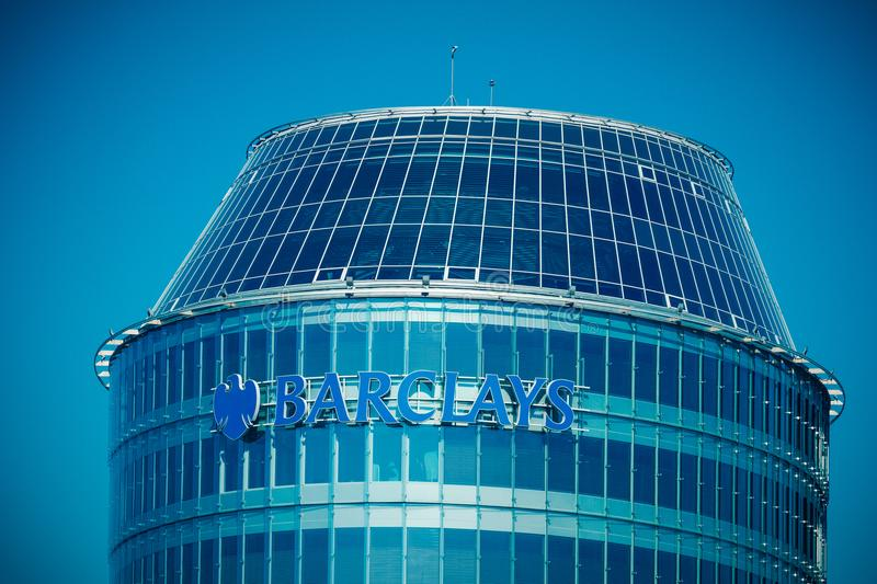 Vilnius, Lithuania - May 10, 2018: Barclays bank sign and logo on the Vilnius Barclays bank office building. Barclays is royalty free stock photos