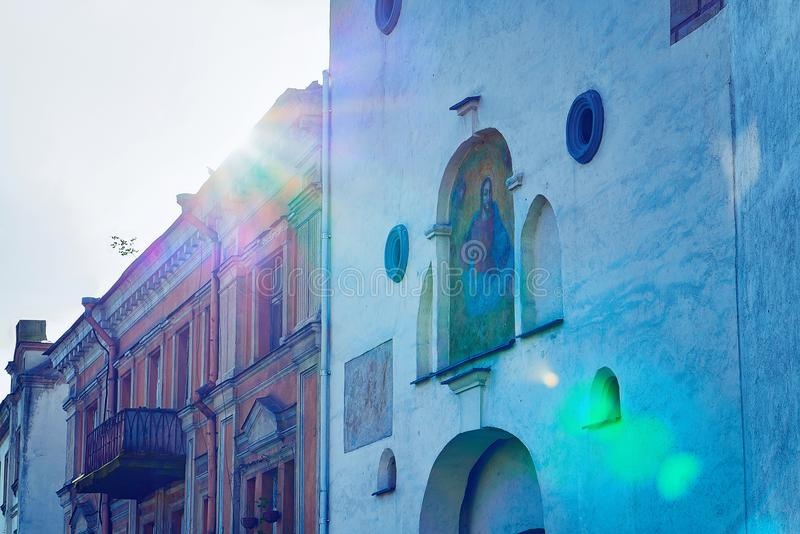 Detail of ancient gate of Dawn in Old city Vilnius royalty free stock images