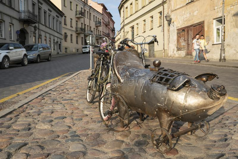 The free state of Uzupio, a district in Vilnius stock photography