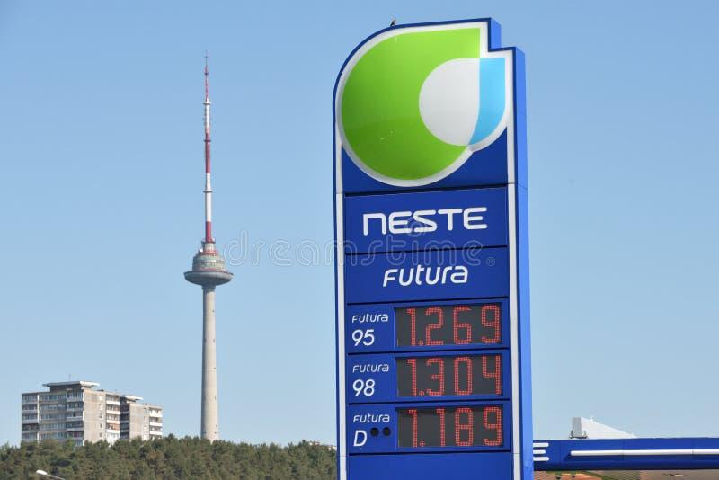 Neste Oil logotype on a fuel station. Vilnius, Lithuania - May 16: Neste Oil logotype on a fuel station on May 16, 2018 in Vilnius Lithuania. Neste Oyj is an oil royalty free stock images