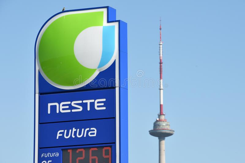 Neste Oil logotype on a fuel station. Vilnius, Lithuania - May 16: Neste Oil logotype on a fuel station on May 16, 2018 in Vilnius Lithuania. Neste Oyj is an oil royalty free stock photos