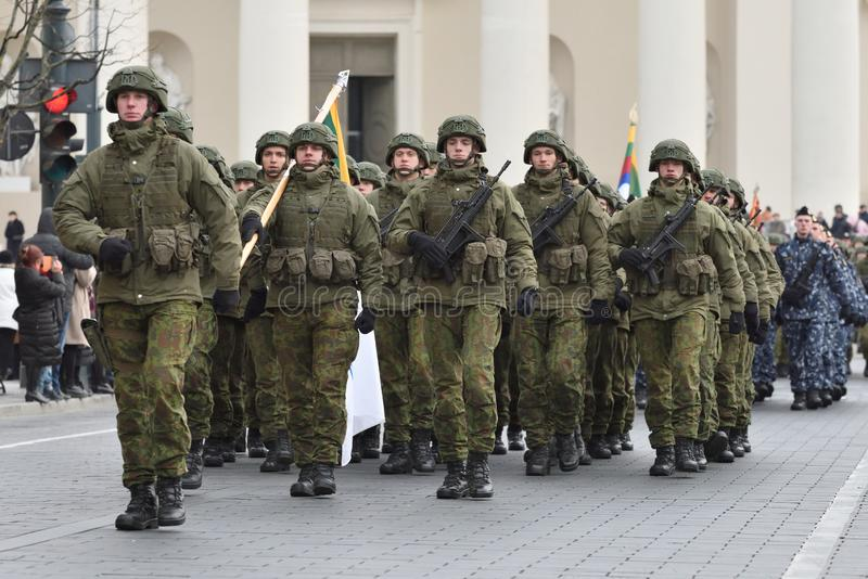 Soldiers in military parade royalty free stock photo