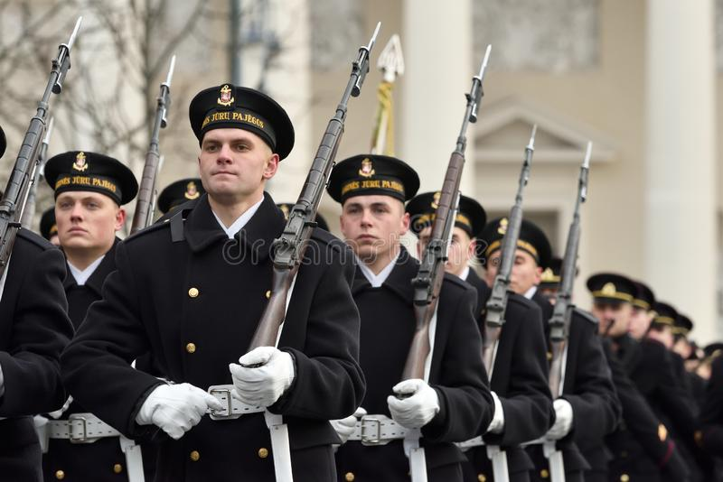 Soldiers in military parade royalty free stock photography