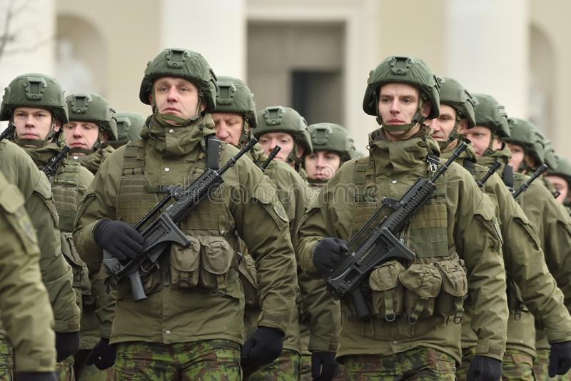 Soldiers in military parade stock photo