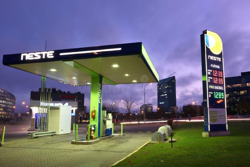 Neste Oil logotype on a Neste fuel station. Vilnius, Lithuania - October 31: Neste Oil logotype on a Neste fuel station on October 31, 2018 in Vilnius Lithuania stock photo