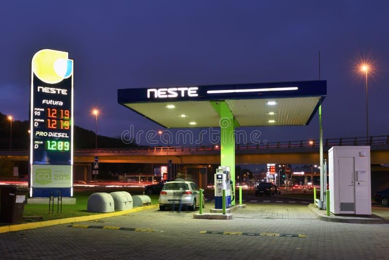 Neste Oil logotype on a Neste fuel station. Vilnius, Lithuania - October 31: Neste Oil logotype on a Neste fuel station on October 31, 2018 in Vilnius Lithuania stock photography