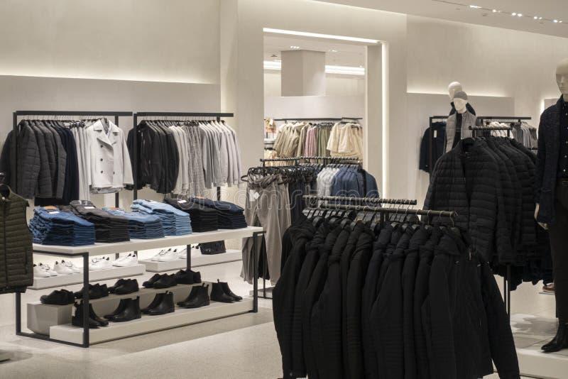 Vilnius, Lithuania - 3 October 2019: : Zara clothing store interior inside shopping center Akropolis. Zara is popular. Vilnius, Lithuania - 3 October 2019 royalty free stock photo