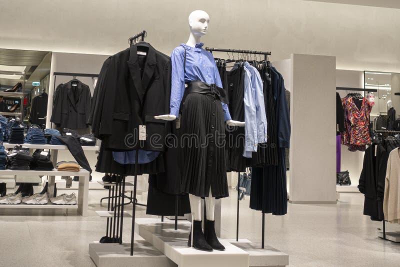 Vilnius, Lithuania - 3 October 2019: : Zara clothing store interior inside shopping center Akropolis. Zara is popular. Vilnius, Lithuania - 3 October 2019 stock photos