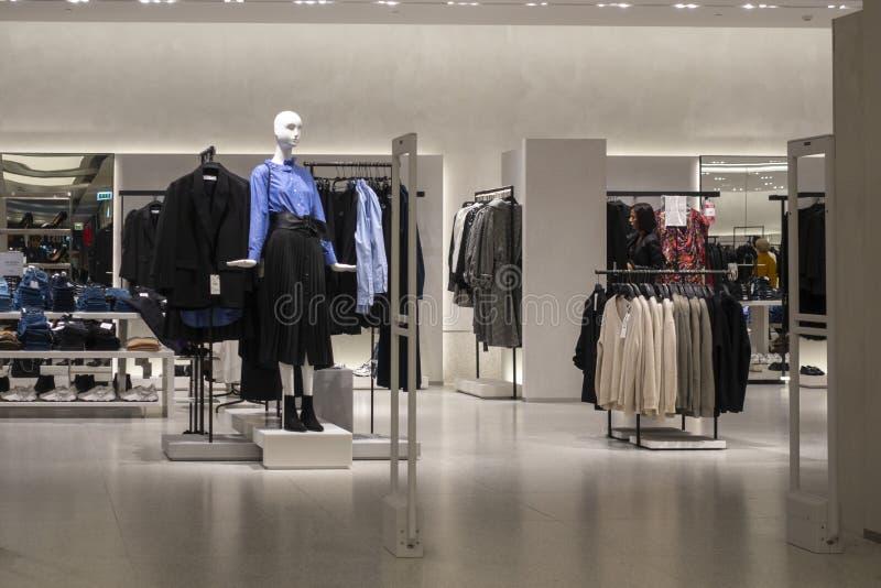 Vilnius, Lithuania - 3 October 2019: : Zara clothing store interior inside shopping center Akropolis. Zara is popular. Vilnius, Lithuania - 3 October 2019 royalty free stock photography