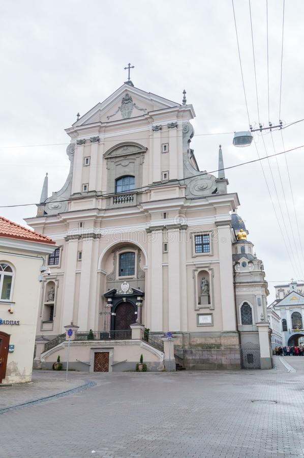 Church of St Theresa is one of the early Baroque buildings in Lithuania. Vilnius, Lithuania - September 28, 2018: Church of St Theresa is one of the early royalty free stock image