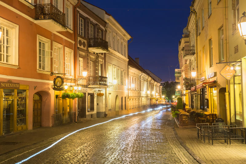 Vilnius Lithuania. View Of Deserted Pilies Street In Bright Evening Illumination royalty free stock image