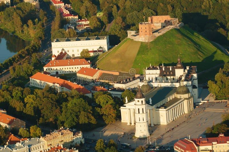 Vilnius, Lithuanie Château supérieur gothique Cathédrale et palais des ducs grands de la Lithuanie images libres de droits